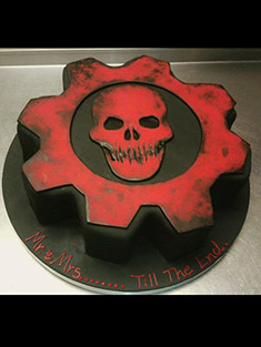 Red Skull Wedding Cake - Grooms & Sports - 11