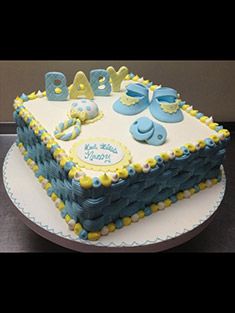 Blue & Yellow Baby Shower Cake - Baby, Kids & Religious Cakes - 45