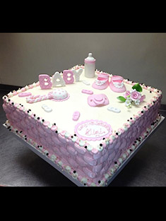 Pink & White Baby Shower Cake - Baby, Kids & Religious Cakes - 48