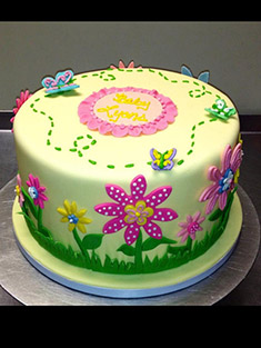 Flower & Butterfly Colorful Cake - Baby, Kids & Religious Cakes - 52