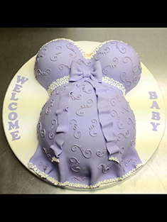 Pregnant Belly, Baby Shower Cake (Purple) - Shaped Cakes - 11