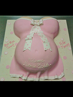 Pregnant Belly, Baby Shower Cake (Pink) - Shaped Cakes - 12