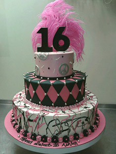 Pink Peace Sign Sweet 16 Cake - Sweet 16 & Bar/Bat Mitzvah - 2
