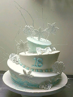 Snowflake Birthday Cake - Sweet 16 & Bar/Bat Mitzvah - 8