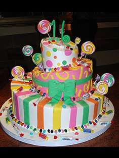 Colorful Candy Birthday Cake - Sweet 16 & Bar/Bat Mitzvah - 9