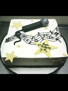 Music & Microphone Birthday Cake - Sweet 16 & Bar/Bat Mitzvah - 13