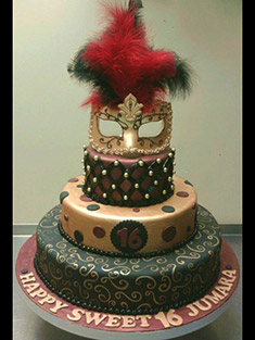 Masquerade Ball Sweet 16 Cake - Sweet 16 & Bar/Bat Mitzvah - 18