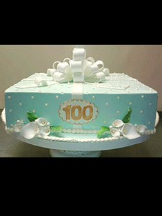 100th Birthday Cake - Single Tiered - 12