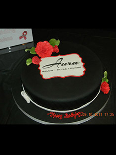 Salon Logo Cake - Single Tiered - 13