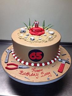 Crab & Tools Birthday Cake - Single Tiered - 46