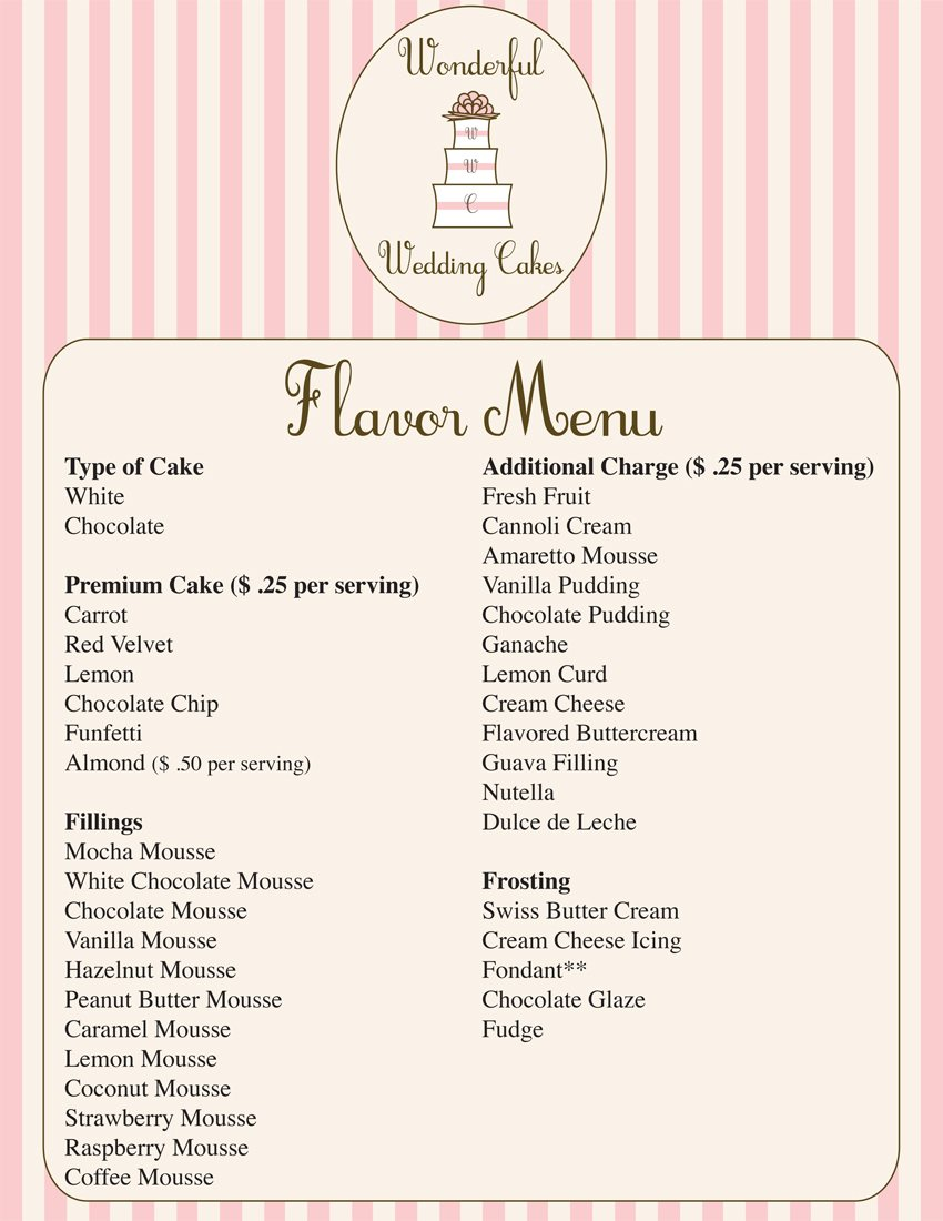 Wonderful Wedding Cakes Flavor Menu